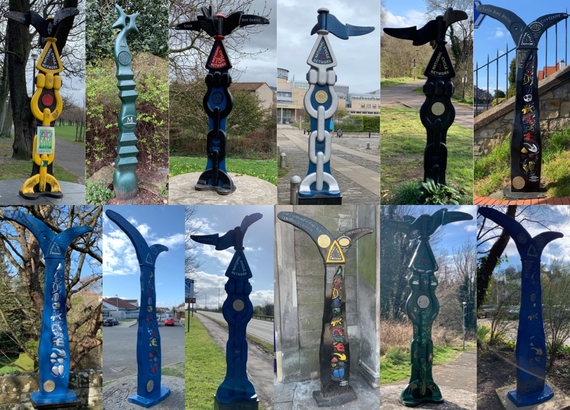 A collage of 12 mileposts