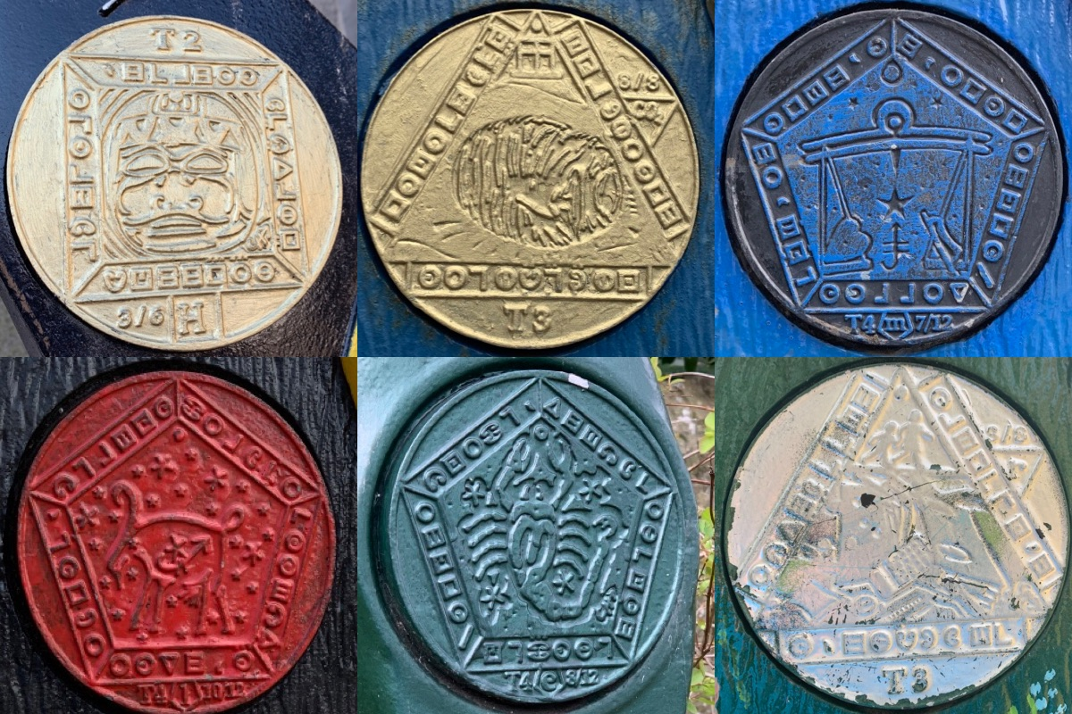 A collage of 6 Time Trail Disks on different mileposts. Some of the symbols are arranged in a triangular shape, others in a pentagon.