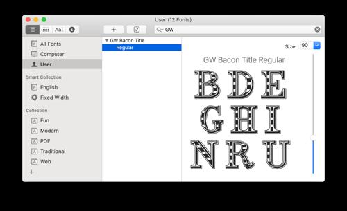 Mac OS's FontBook