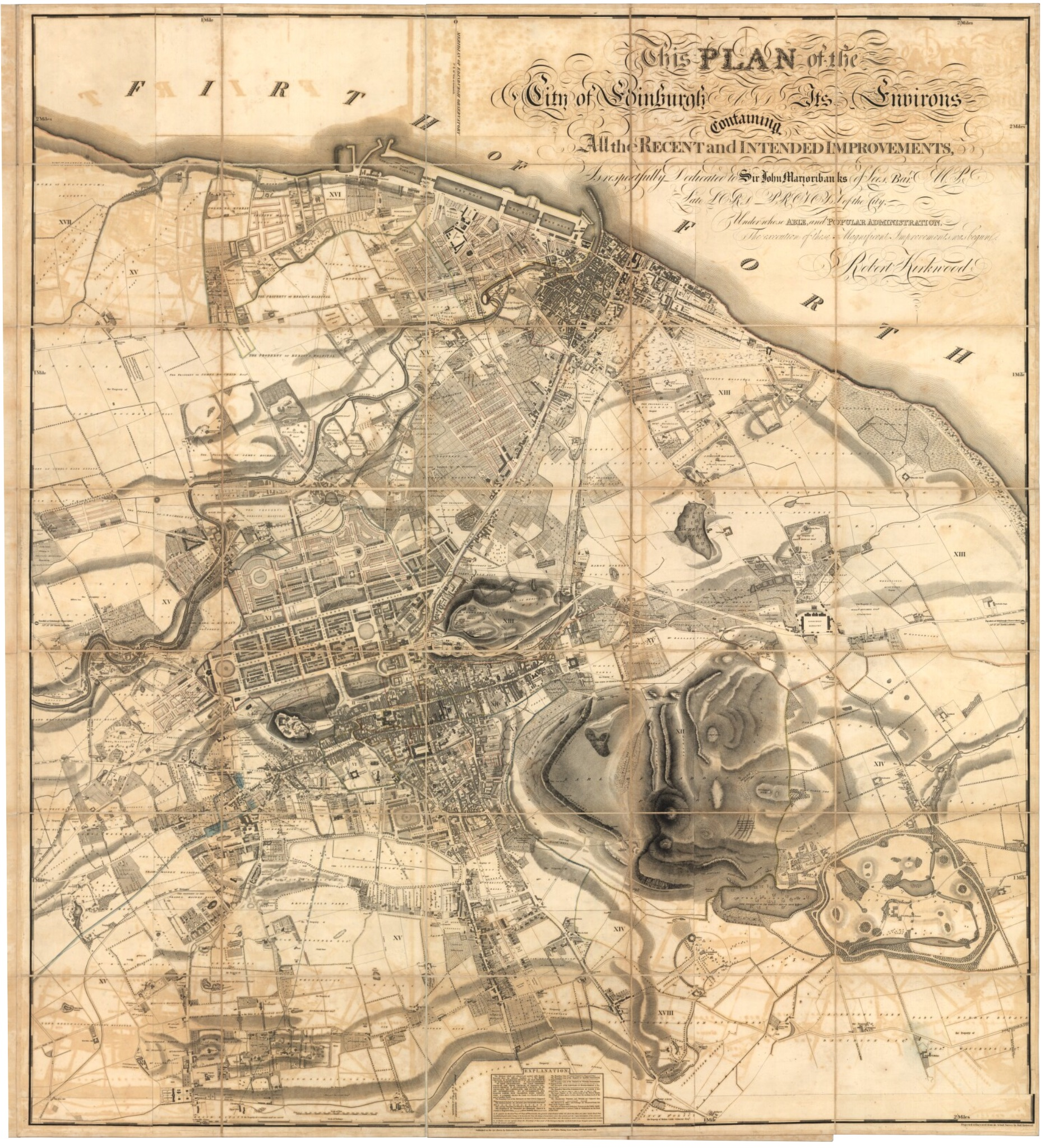An antique map of the City of Edinburgh from the 1800s.