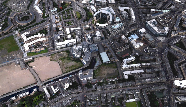 Satellite imagery of Edinburgh Quay from Google Earth.