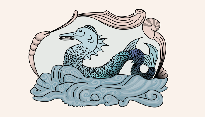 An excerpt of the map showing a sea serpent that I found difficult to draw.