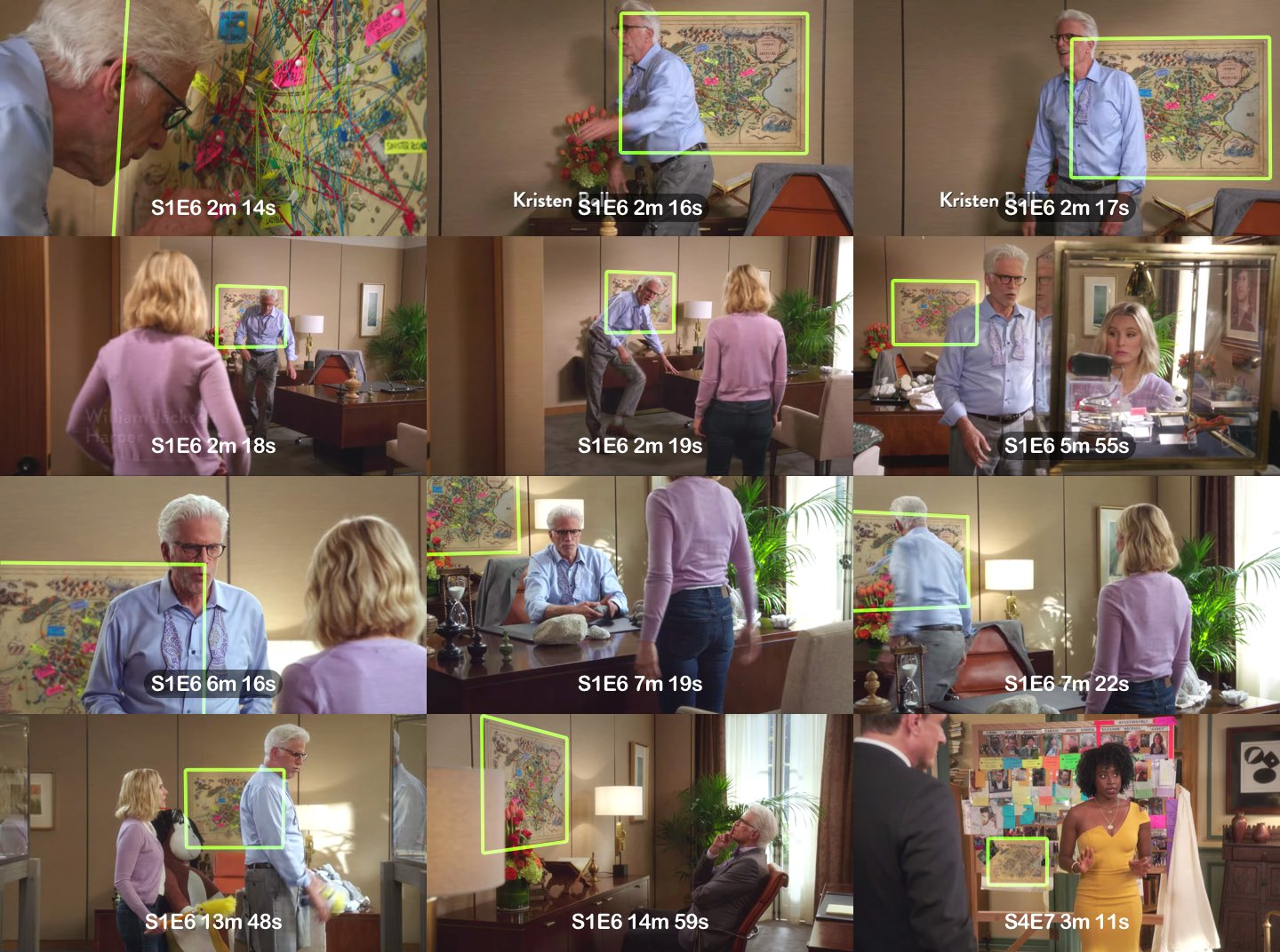 A 4x3 grid of screenshots from The Good Place at different time intervals that show the map. The map is highlighted.