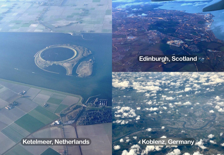 3 photos of different locations, including: Ketelmeer, Netherlands; Edinburgh, Scotland; Koblenz, Germany