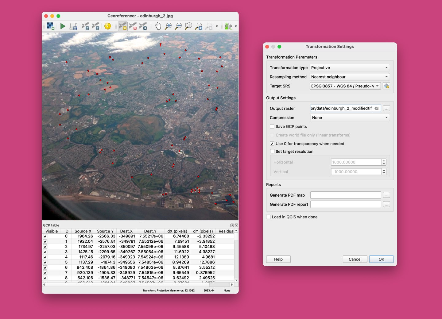 A screenshot of QGIS demonstrating the georeferencer tool being used on a photo of Edinburgh.